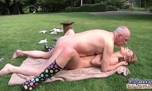 beautiful matures  blowjob  fuck  grandpa  old cunt  outdoor sex