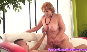 chubby  cock  granny  riding on boy  sucking